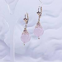 Серьги Розовый Кварц + жемчуг серия Афродита натуральный природный камень