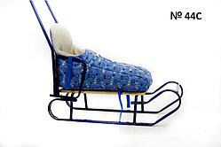Меховой чехол ярко-голубого цвета с принтом снеговичков