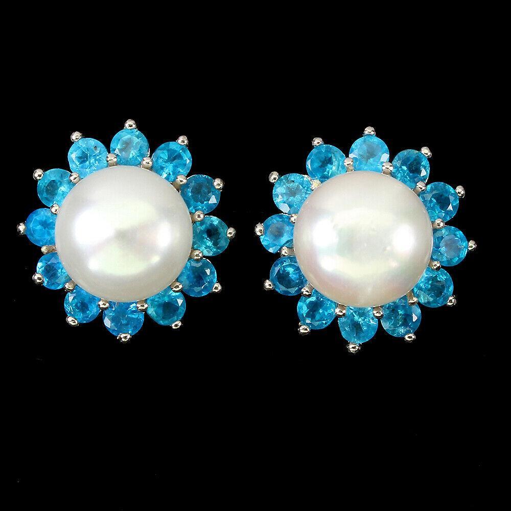 Срібні сережки з перлами і апатитом