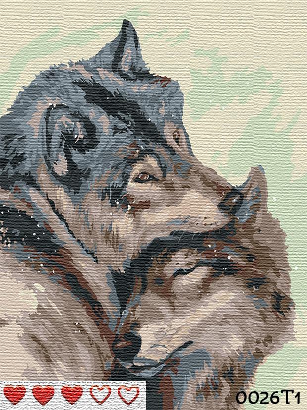 Картина по номерам Волки, цветной холст, 40*50 см, без коробки, ТМ Barvi+ ЛАК