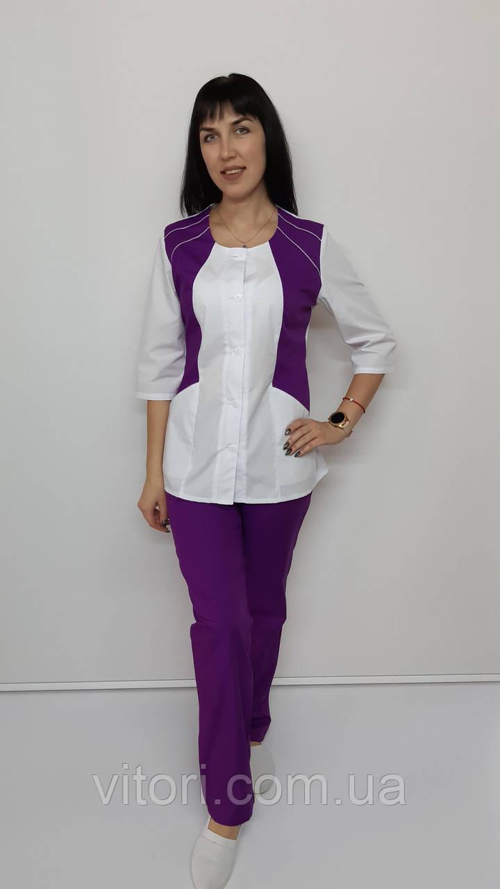 Женский медицинский костюм Лика коттон три четверти рукав