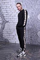 Мужской черный спортивный костюм с брендовым лампасом зима. Свитшот черный, штаны черные