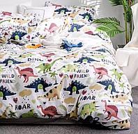 Двоспальний постільний комплект-Динозаври друзі
