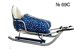 Меховой чехол синего цвета с принтом снежинок