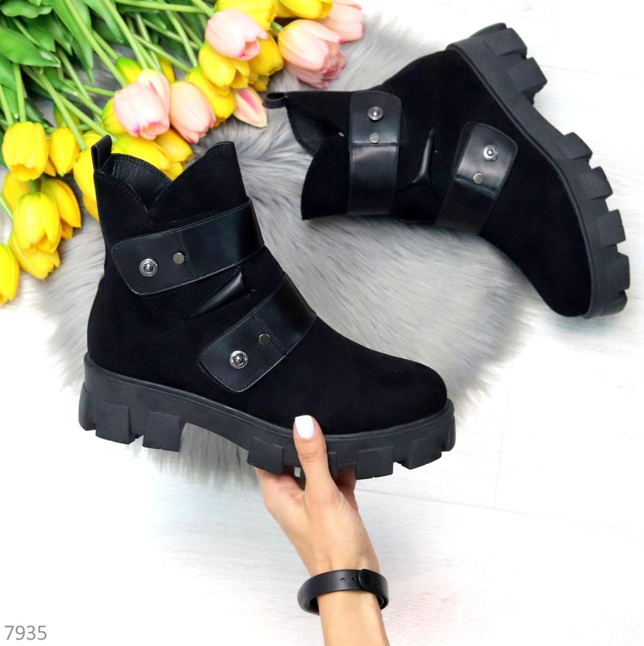 Стильные молодежные зимние женские ботинки на низком ходу