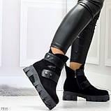 Стильные молодежные зимние женские ботинки на низком ходу, фото 2