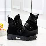 Стильные молодежные зимние женские ботинки на низком ходу, фото 7