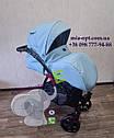 Детская коляска 2 в 1 Classik (Классик) Victoria Gold эко кожа голубой, фото 4