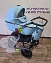 Детская коляска 2 в 1 Classik (Классик) Victoria Gold эко кожа голубой, фото 2
