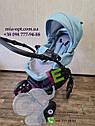 Детская коляска 2 в 1 Classik (Классик) Victoria Gold эко кожа голубой, фото 7