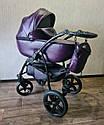 Детская коляска 2 в 1 Saturn Len Classik (Сатурн Лен Классик) Victoria Gold эко кожа фиолет, фото 2
