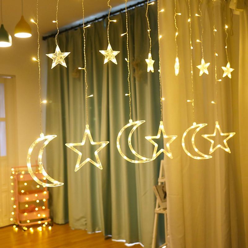 Светодиодная гирлянда штора занавес Stars&Moons звезды и полумесяцы Теплый белый  9 режимов с пультом