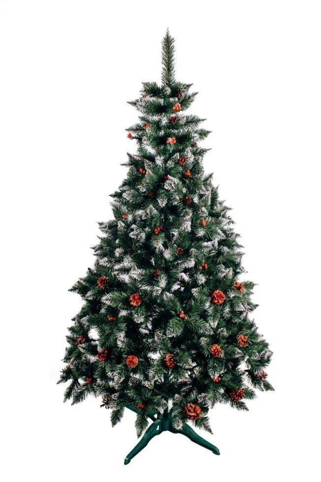 Різдвяна Ялинка елітна з шишкою і калиною червона 2,5 м
