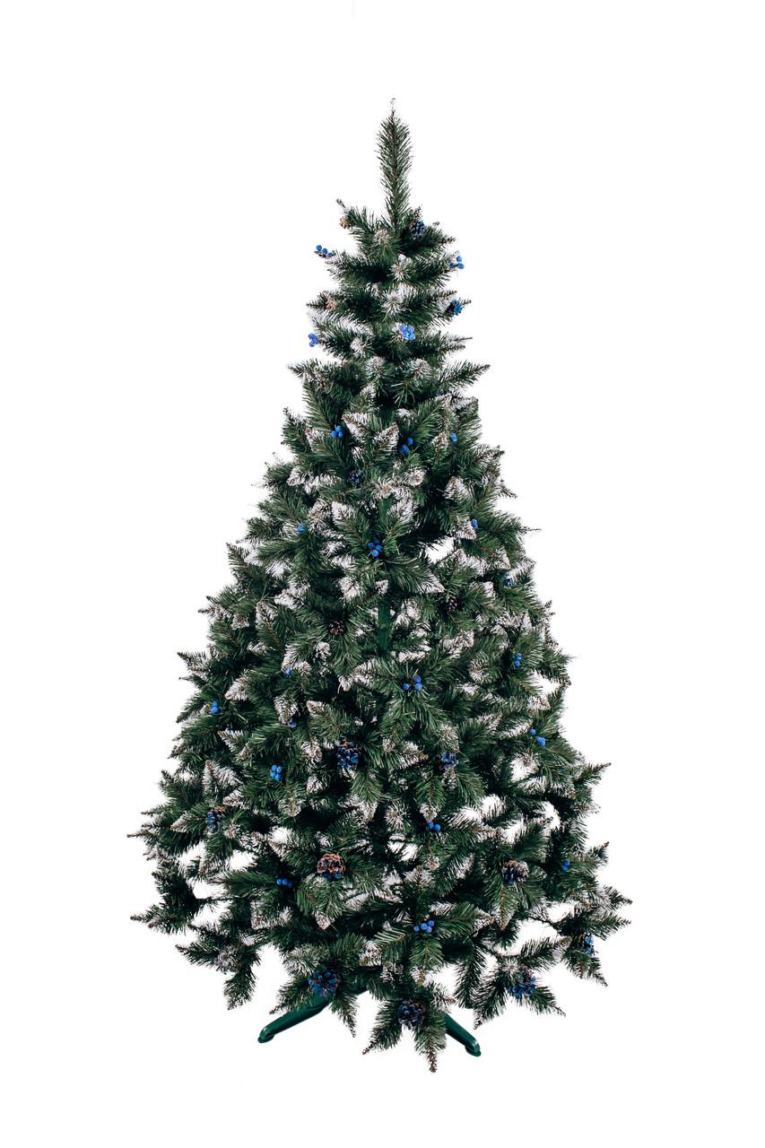 Різдвяна Ялинка елітна з шишкою і калиною блакитна 2,2 м