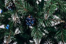Різдвяна Ялинка елітна з шишкою і калиною блакитна 2,2 м, фото 3