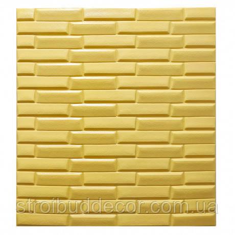 Самоклеющаяся декоративная 3D панель желтая  кладка 700x700x8мм