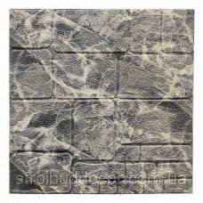 Самоклеющаяся декоративная 3D панель черно-белый камень  700x700x7мм