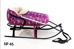 Меховой чехол с короткой спинкой розовый с принтом снеговиков