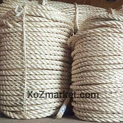 Сизалевая веревка для когтеточки Ø 8 мм ▶ Моток 100 м ▶ Канат сизалевый для царапки ▶ Мотузка сизальова світла