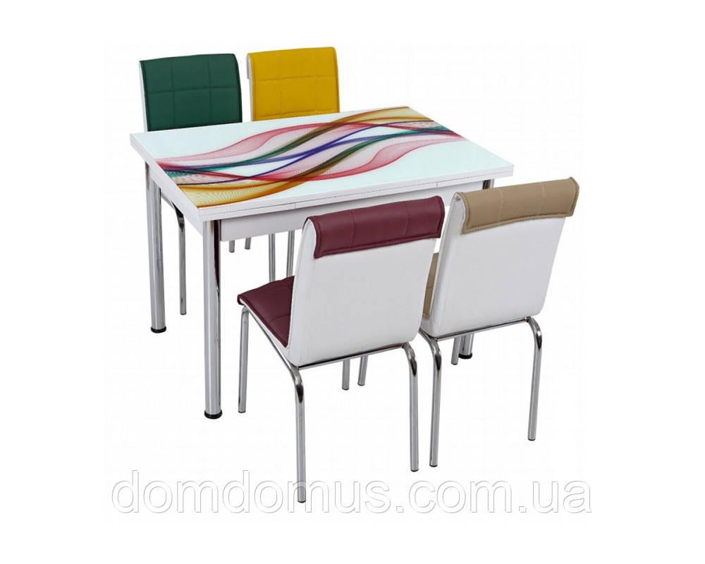 """Комплект обідній меблів """"Веселка"""" (стіл ДСП, гартоване скло + 4 стільця) Лідер, Туреччина"""