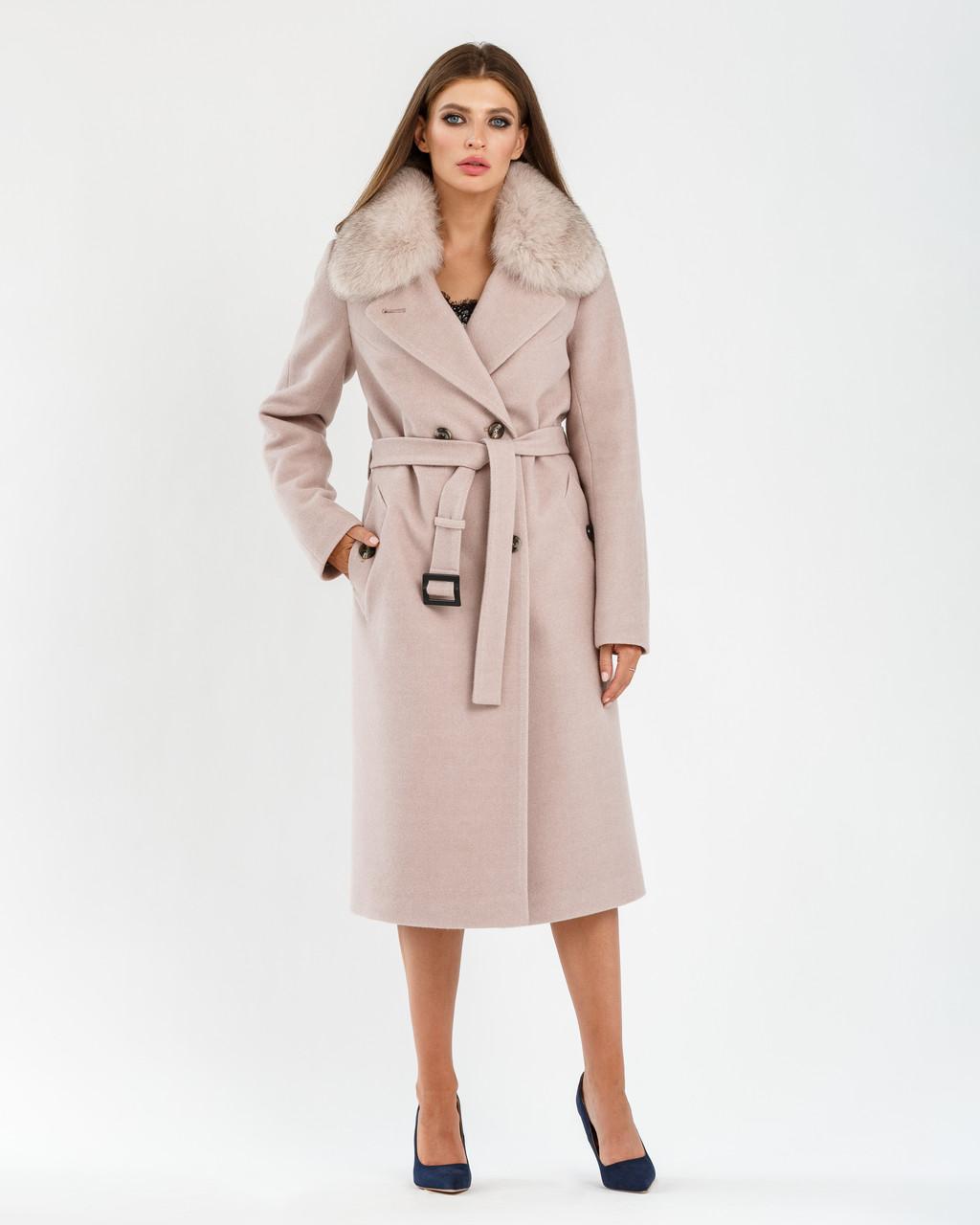 Стильное модное ЗИМНЕЕ пальто с натуральным песцовым воротником с 44 по 54 размер Бежевый