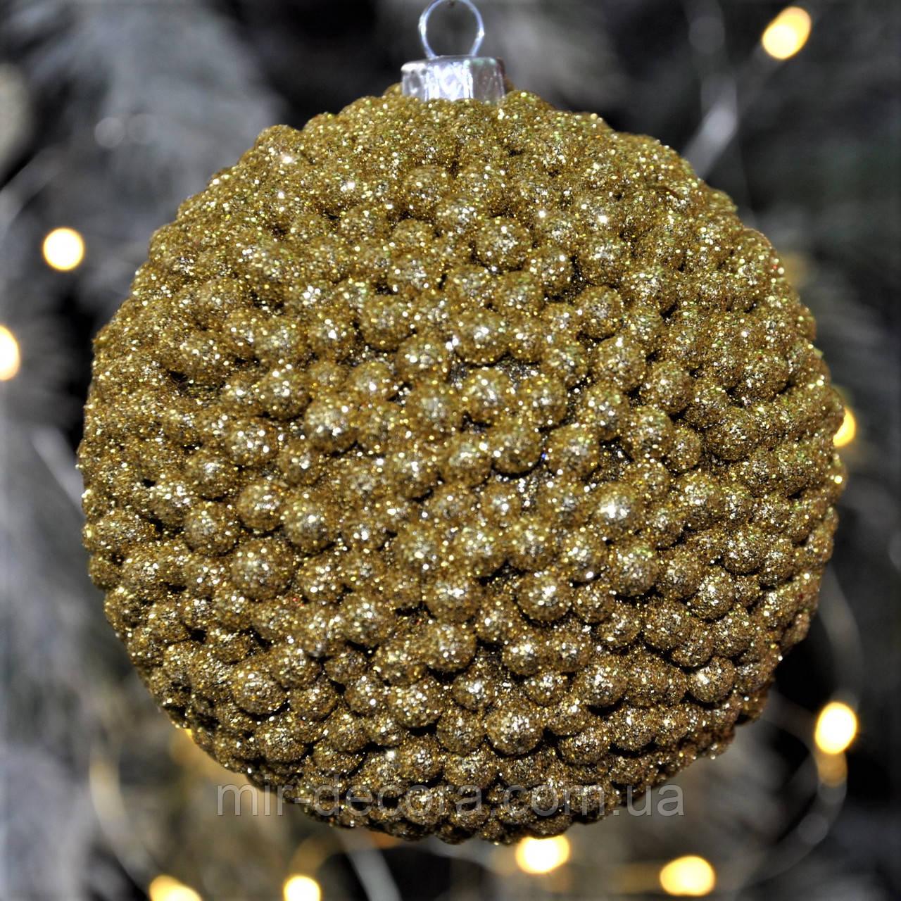 """Украшение на новогоднюю елку шар """"Декор"""" 80 мм, золото"""
