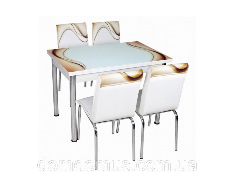 """Комплект обідній меблів """"Бежева хвиля"""" (стіл ДСП, гартоване скло + 4 стільця) Лідер, Туреччина"""