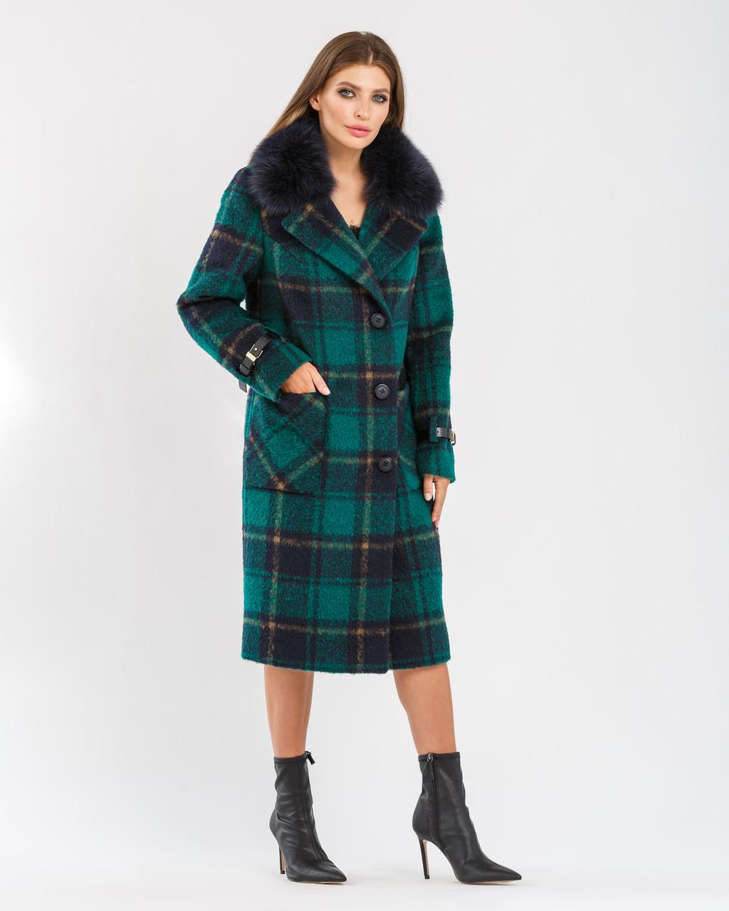 Модное ЗИМНЕЕ пальто в клетку Изумруд 44,46,48,50,52,54,56 размер