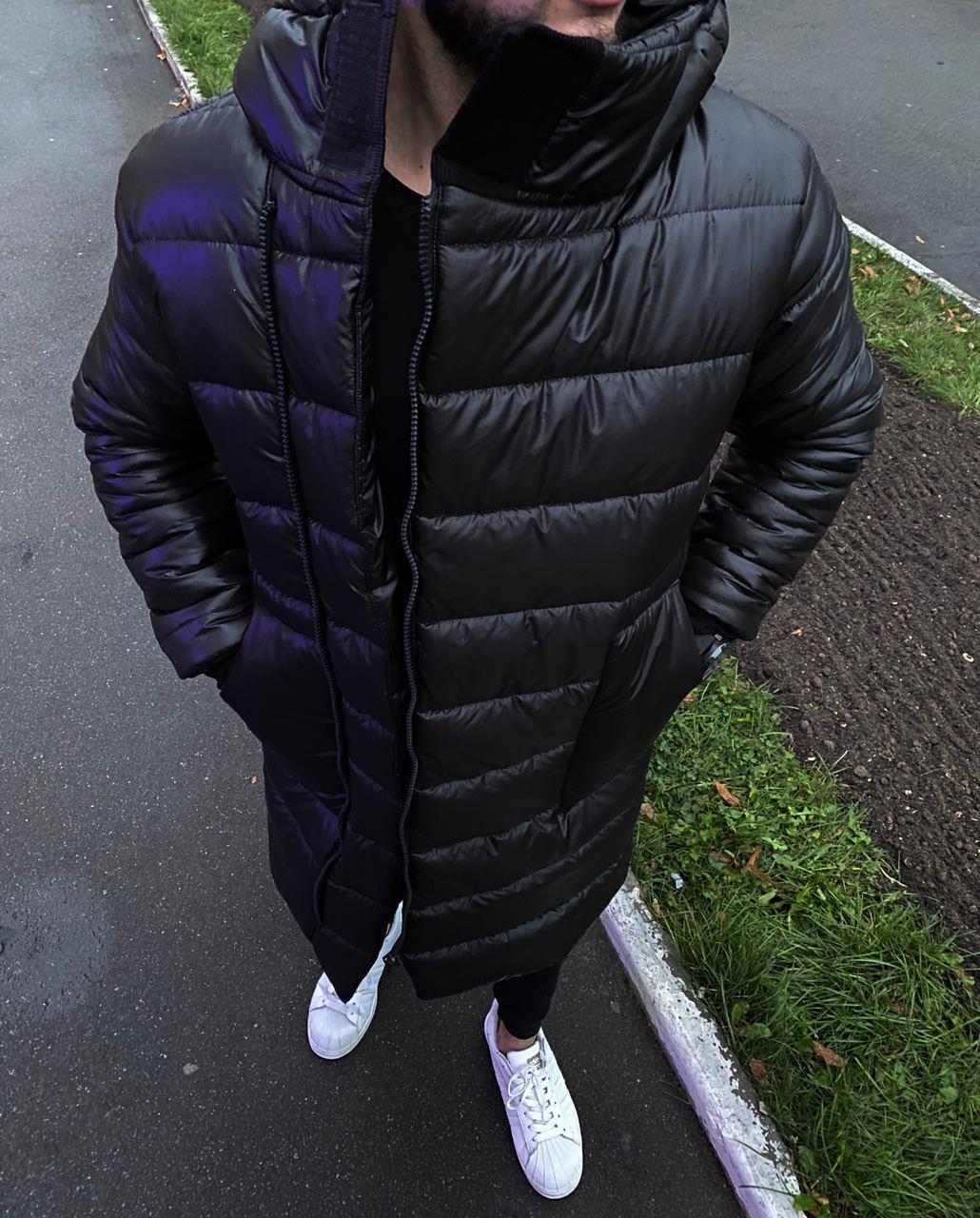 😜 Куртка Чоловіча куртка зимова довга чорна