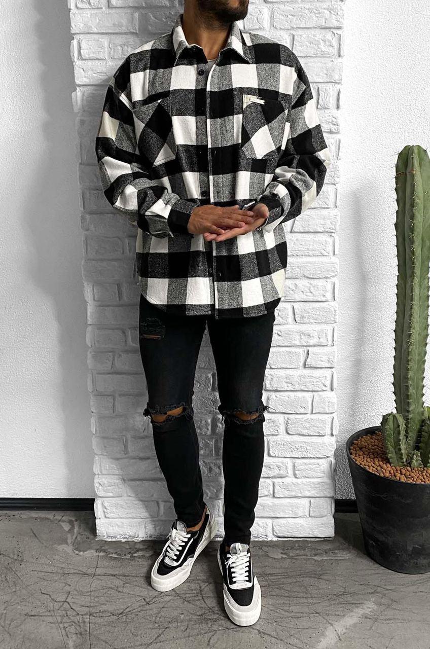 😜Рубашка - мужская теплая байковая рубашка черно-белая (клетка широкая)