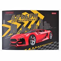 Альбом для рисования 12 листов для мальчика 1 вересня Красная машина, Чёрный (4823092240163)