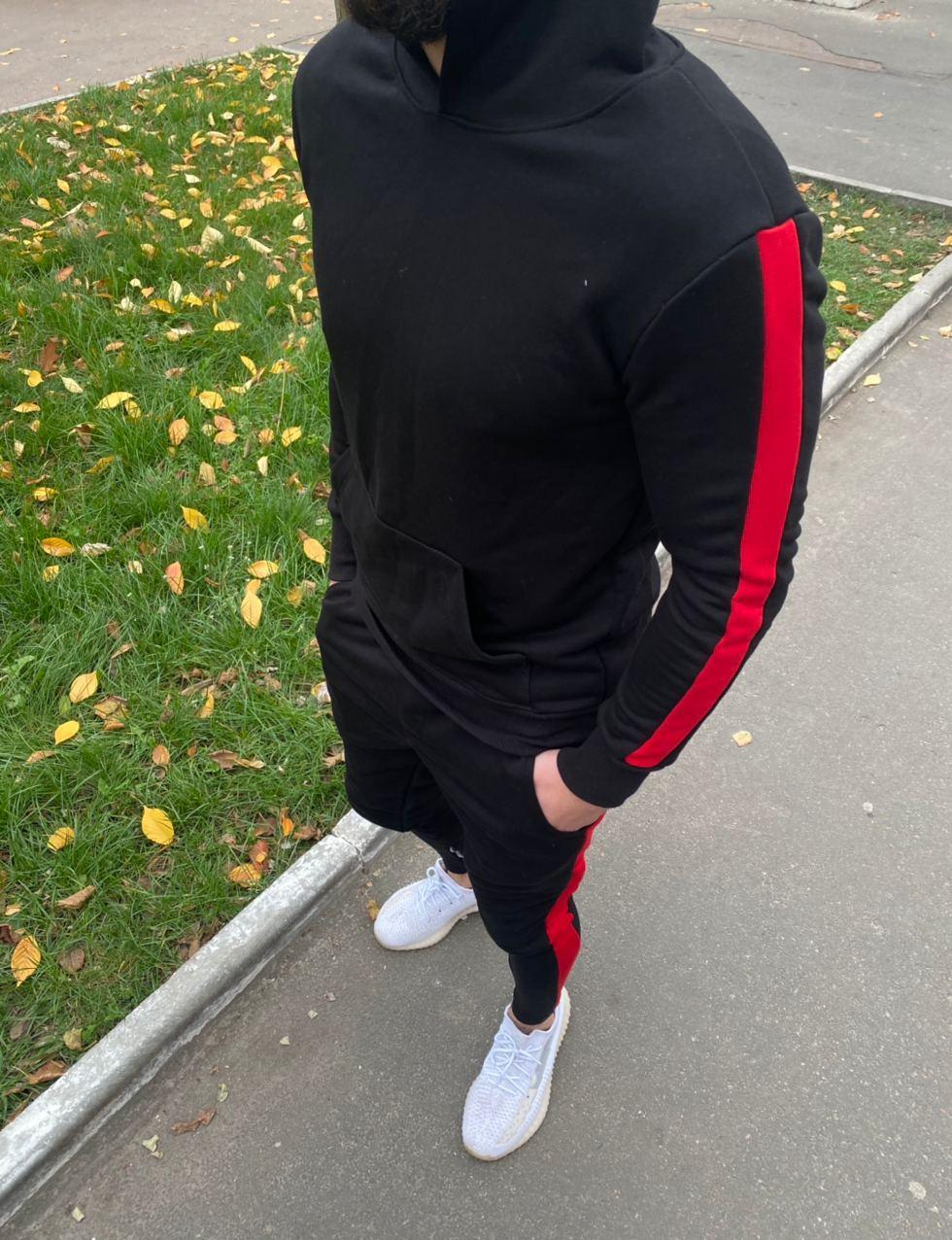 😜 Спортивный костюм - мужской спортивный костюм черный с красными полосками