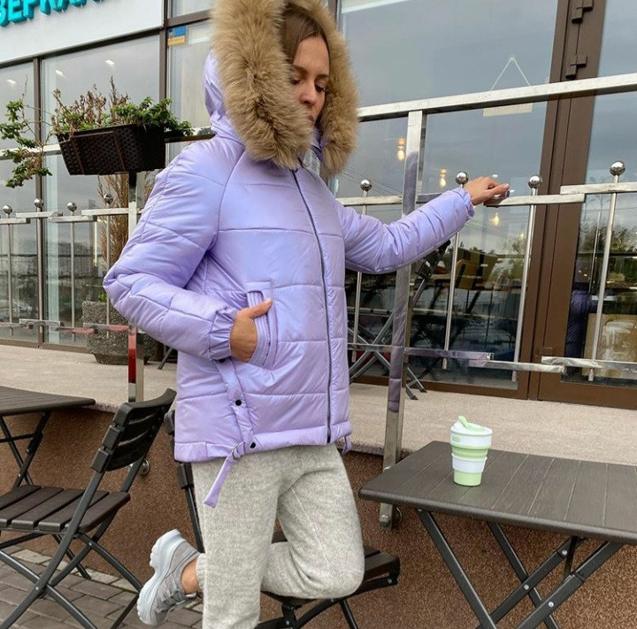 Модная зимняя теплая куртка с натуральным мехом 42,44,46,48,50,52  Сирень