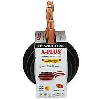 Набор сковородок A-PLUS 3 шт (FP-1741) С мраморным покрытием (Уценка)