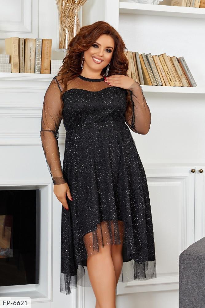 Женское черное шикарное платье. Размер: 50-52, 54-56, 58-60 Ткань:сетка блеск +подклад Цвет: черный.
