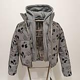 Куртка рефлективна з світловідбиваючої тканини з принтом Міккі Маус для дівчинки з трикотажним капюшоном, фото 7