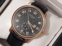 Мужские (Женские) кварцевые наручные часы Hermes с датой на кожаном ремешке