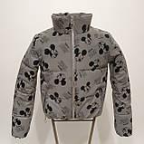 Куртка світловідбиваюча підліткова для дівчинки з рефлективної тканини з принтом Міккі Маус, фото 2