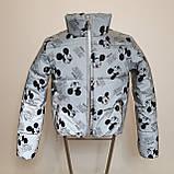 Куртка світловідбиваюча підліткова для дівчинки з рефлективної тканини з принтом Міккі Маус, фото 5