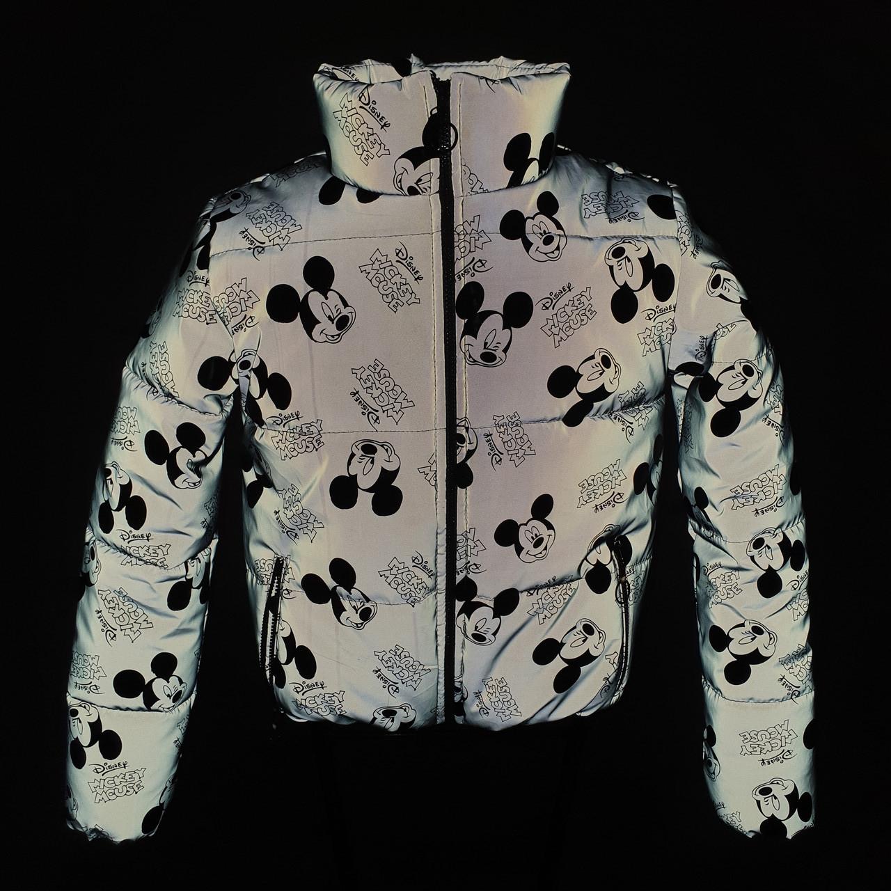 Куртка світловідбиваюча підліткова для дівчинки з рефлективної тканини з принтом Міккі Маус