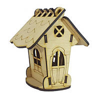 Деревянный домик №17 копилка овальные окошки,8х8х12 см Атлас AS-4267