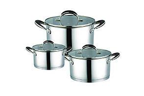 Набор посуды нержавеющий Maestro - 1,5 х 3 х 5 л, (3 шт.) MR-3502-6L
