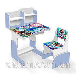 Парта школьная бело-голубая + 1 стул