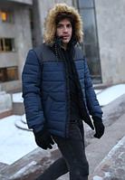Молодежная зимняя мужская куртка с мехом на капюшоне, синяя