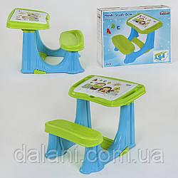 Парта сине-зеленая учебная для дошкольников с откидной крышкой и отсеком с органайзером