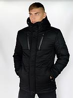 Куртка мужская зимняя теплая с капюшоном черная, Пуховик мужской зимний