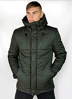 Куртка мужская зимняя теплая с капюшоном хаки, Пуховик мужской зимний