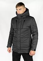 Куртка мужская зимняя теплая с капюшоном серая, Пуховик мужской зимний