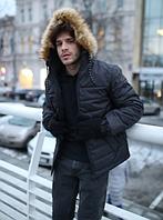 Молодежная зимняя мужская куртка с мехом на капюшоне, черная