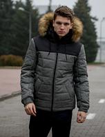 Молодежная зимняя мужская куртка с мехом на капюшоне, серая